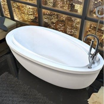 Freestanding Oval End Drain Bath with Raised Backrest