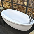 Oval End Drain Freestanding Bath with Raised Back
