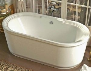 Freestanding Oval Center Drain Bath with Decorative Rim