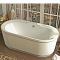 Oval Center Drain Freestanding Bath with Decorative Rim