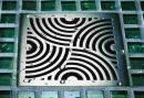 Modern Square Drain with Circular Pattern Decorative Grid