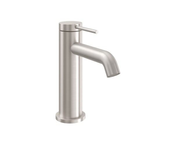 Short Single Hole Faucet with Front Post Style Handle, Curved Spout
