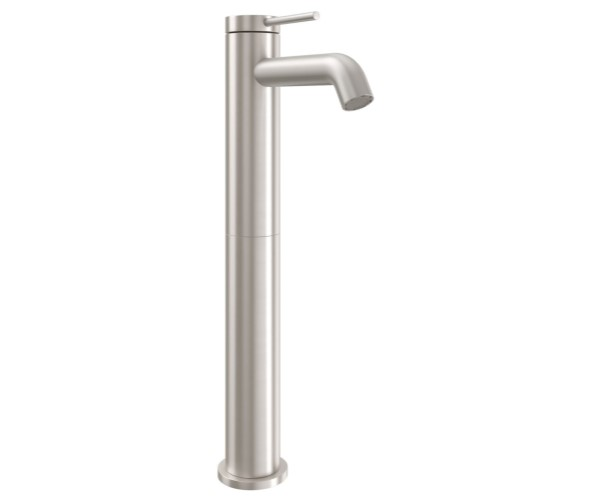 Tall Single Hole Faucet with Front Post Style Handle, Curved Spout