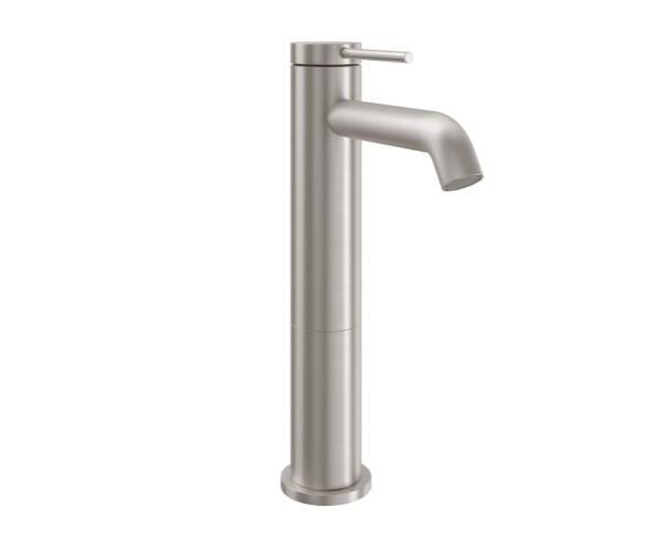 Medium Single Hole Faucet with Front Post Style Handle, Curved Spout