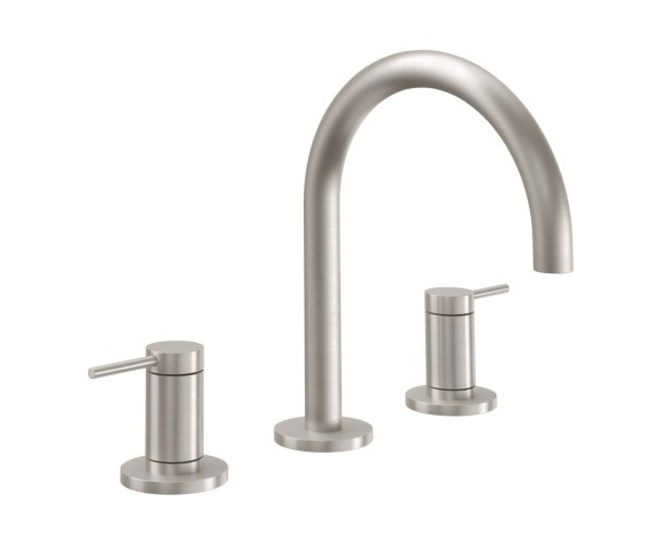 Sink faucet with High Curving Spout, Post Handles, Smooth Column