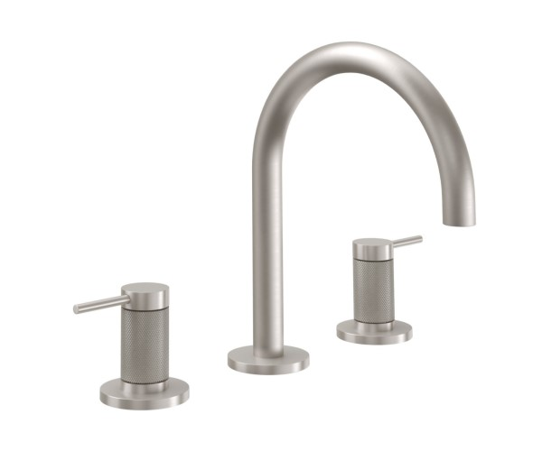 Sink faucet with High Curving Spout, Post Handles, Knurled Column
