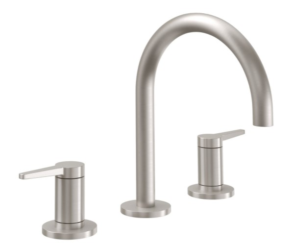 Sink faucet with High Curving Spout, Lever Handles, Smooth Column