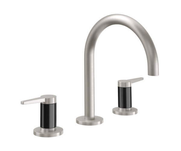 Sink faucet with High Curving Spout, Lever Handles, Knurled Column