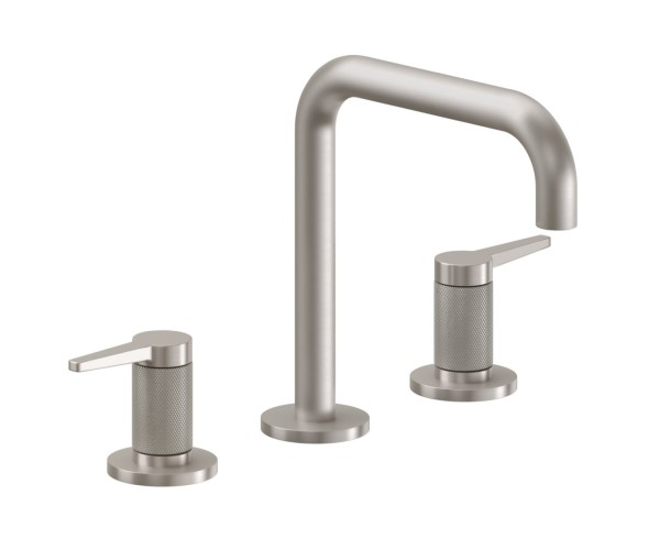 Sink faucet with Squared Spout, Lever Handles, Knurled Column