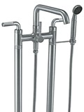 2 Leg Freestanding Tub Filler with Lever Handles and Handshower