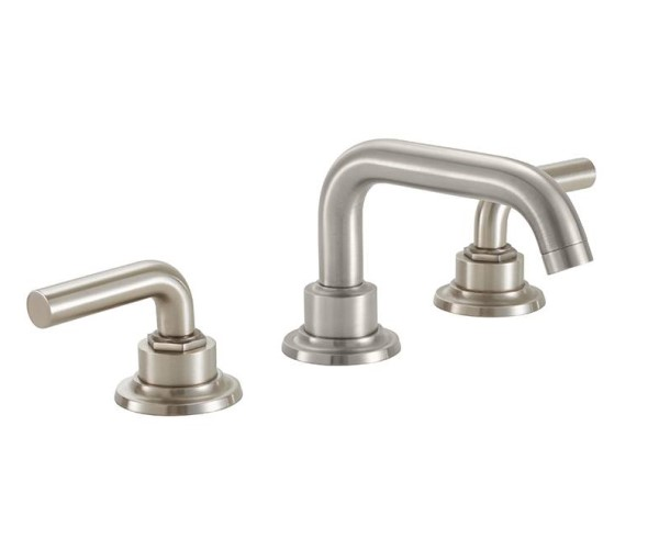 Widespread sink faucet with tubular spout, smooth lever handles