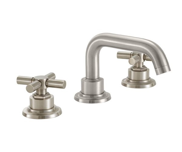 Widespread sink faucet with tubular spout, cross handles