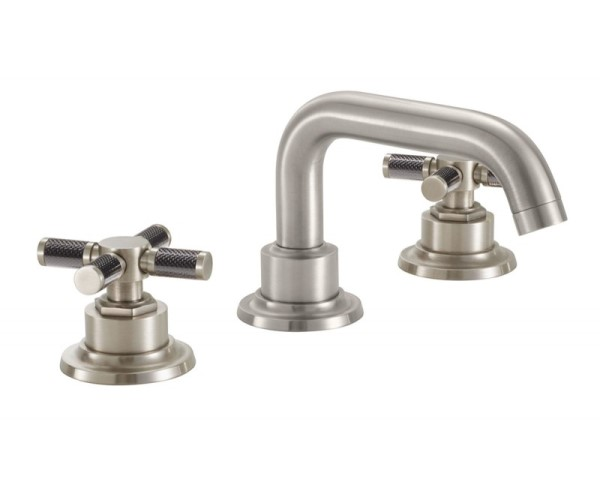 Widespread sink faucet with tubular spout, black textured cross handles