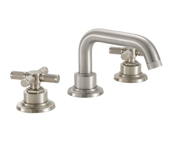 Widespread sink faucet with tubular spout, textured cross handles