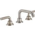 Widespread sink faucet with tubular spout, textured lever handles