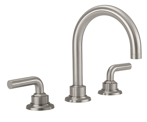 Widespread sink faucet with curving spout, smooth lever handles