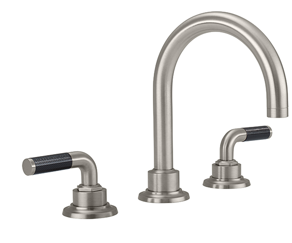 Widespread sink faucet with tubular spout, black textured handles