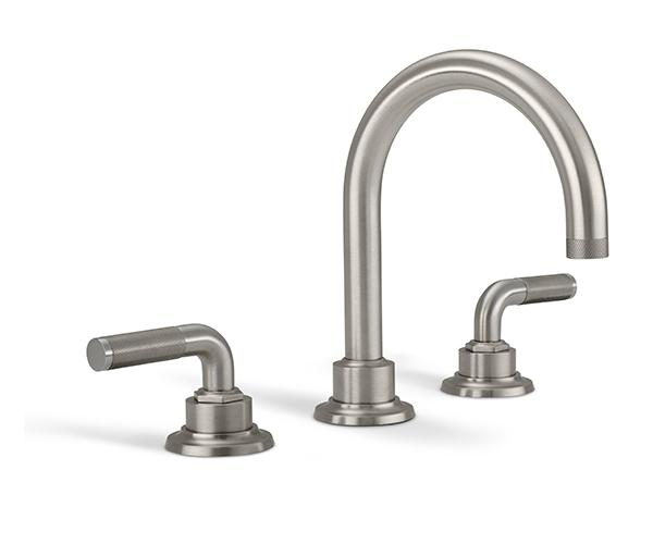 Widespread sink faucet with tall spout, textured lever handles