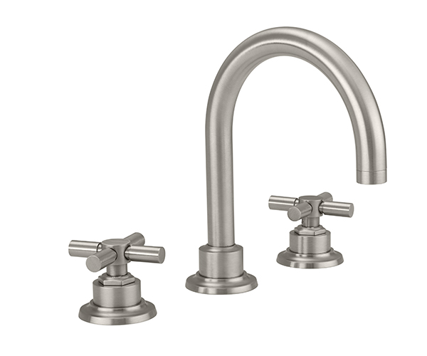 Widespread sink faucet with tall spout, cross handles
