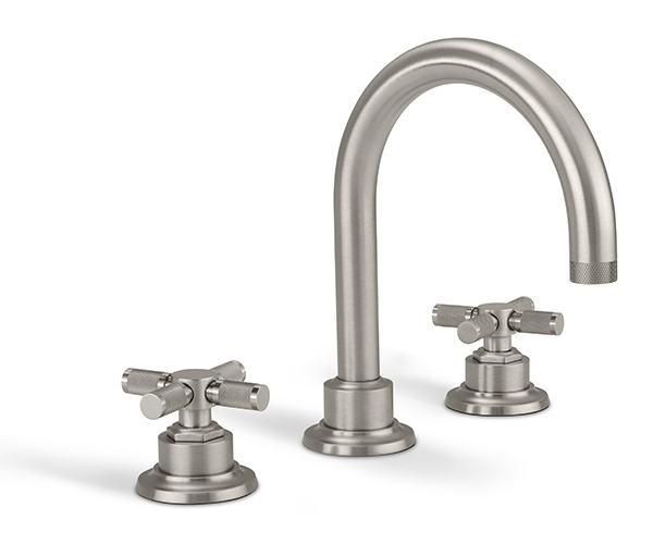 Widespread sink faucet with tall spout, textured cross handles