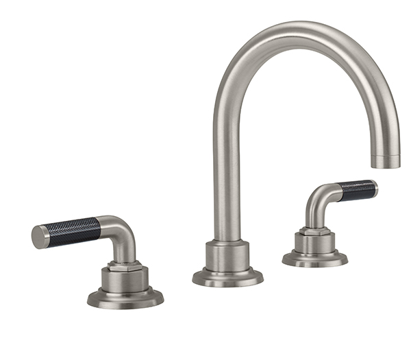 Tall curving  tubular spout, carbon lever handles