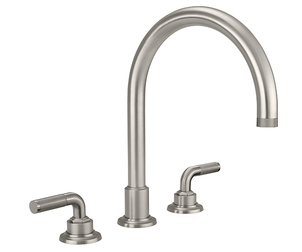 Tall curving  tubular spout, knurl lever handles