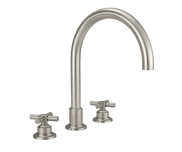 Tall curving  tubular spout, cross handles