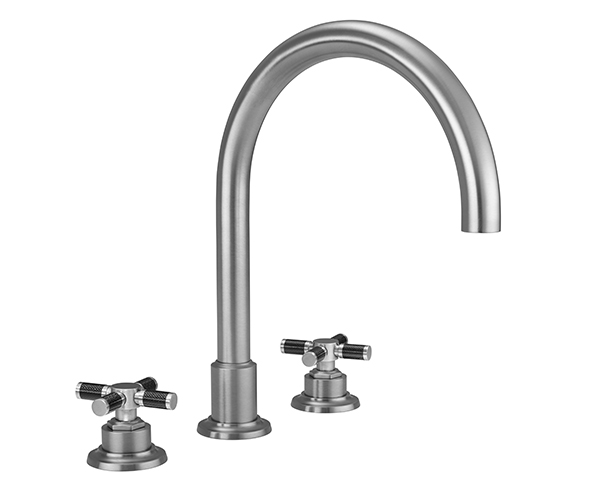 Tall curving  tubular spout, carbon cross handles