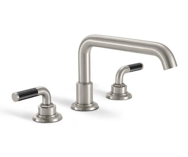 Tub faucet with squared tubular spout, black textured handles
