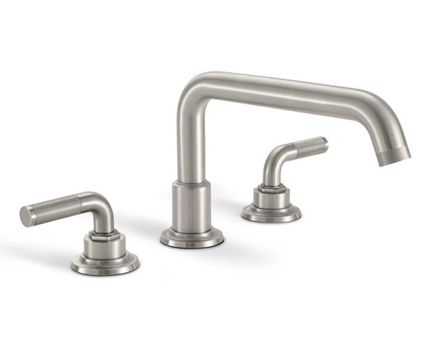 Tub faucet with squared tubular spout, textured lever handles