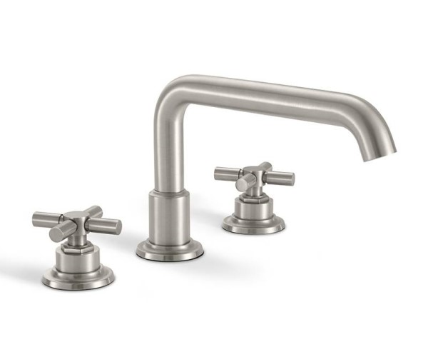 Tub faucet with squared tubular spout, cross handles