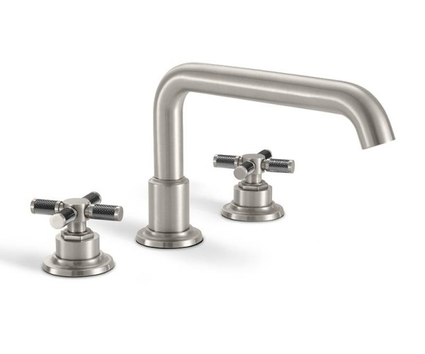 Tub faucet with squared tubular spout, black textured cross handles