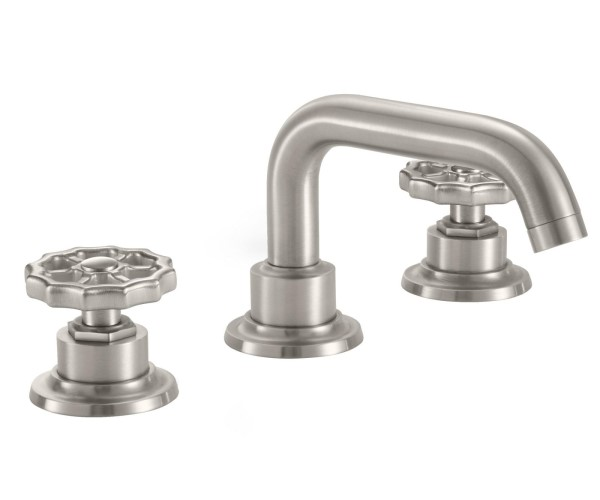 Short Squared Spout, Widespread Sink Faucet with Spigot Wheel Handles