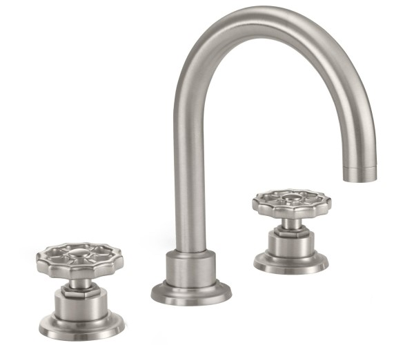 Tall Curved Spout, Widespread Sink Faucet with Spigot Wheel Handles