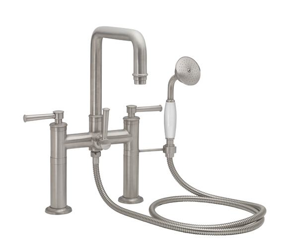 squared spout deckmount tub filler with 48 series lever handles