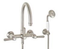 Traditional Wall-mount Tub Filler with Hand Shower and 48 Series Handle