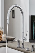 Corsano Contemporary Pull-down Kitchen Faucet with Thin Handles & Soap Dispenser
