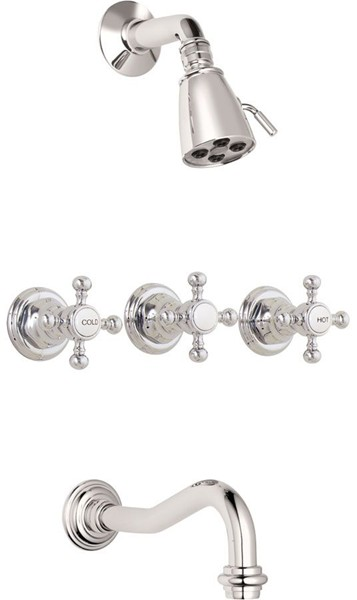 three handle tub and shower faucet. Hot  Cold Handle Diverter Tub Spout Shower Head 3 valve Faucet Custom Faucets