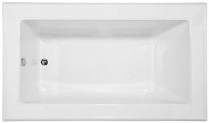 Rectangle Bathtub, End Drain, Decorative Rim
