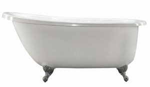 Oval Claw Foot Bath, End Drain, Raised Backrest