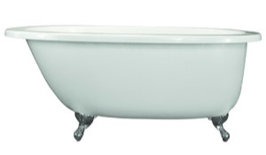 Oval Claw Foot Bath, End Drain, Flat Rim