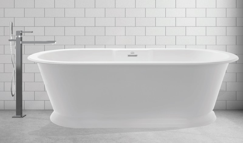 Oval Tub with Pedestal Base, Slightly Rolled Rim