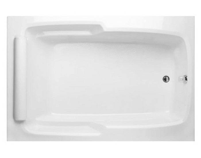 Rectangle Tub with End Drain, Roll Pillow, Armrests