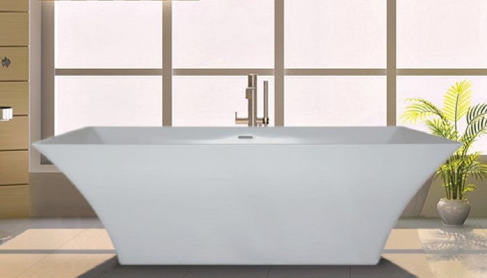 Freestanding Rectangle Bath with Curving Sides, Modern Design, Flat Rim