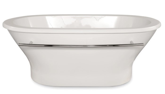 Oval Freestanding Tub with a Stepped Rimn Edge, Curving Sides