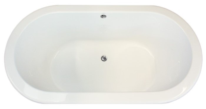 Oval Tub with Flat Rim,2 Backrests and Center Side Drain