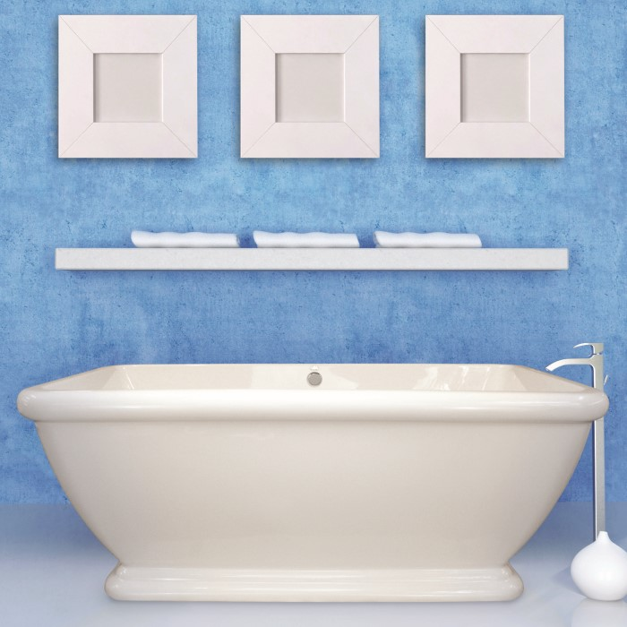 Rectangle Freestanding Bath with Rounded Corners, Pedestal Base