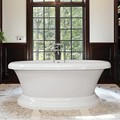 Oval Pedestal Freestanding Tub with Rolled Rim
