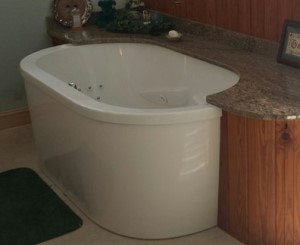 Oval Freestanding Whirlpool with Partial Surround