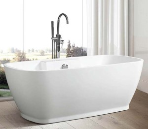 Oval Freestanding Tub with Thin Rim, Recessed Base